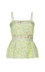 By. Bonnie Young Floral Embroidered Bustier Green White Red