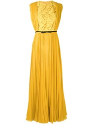 Giambattista Valli Pleated Dress Women Silk Cotton Polyamide Polyester 42 Yellow Orange