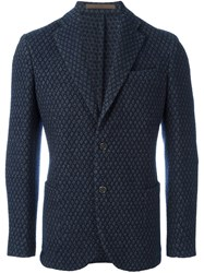 Eleventy Patterned Single Button Blazer Blue