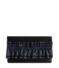 Reiss Maxima Satin Satin Ruffle Detail Clutch In Black