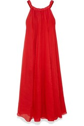 Three Graces London Evangeline Off The Shoulder Pleated Ramie Maxi Dress Red