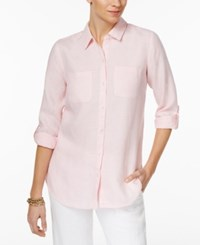 Charter Club Linen Roll Tab Shirt Only At Macy's Light Ethereal