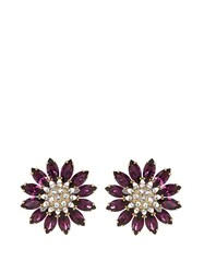 Miu Miu Flower Crystal Embellished Earrings Purple Multi