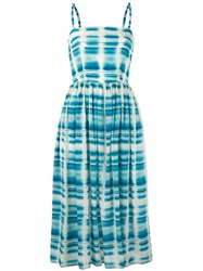 Eggs Checked Dress Women Silk Polyester Acetate 40 Blue