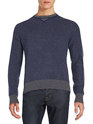 Saks Fifth Avenue Colorblock Marled Sweater Indigo Marl