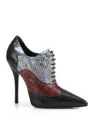 Gucci Gia Colorblock Python Oxford Booties Black Multi