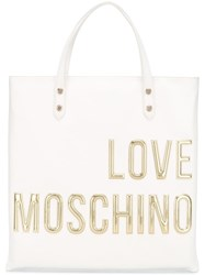 Love Moschino Logo Square Backpack White