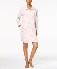 Miss Elaine Plush Zip Front Robe Lilac Pink