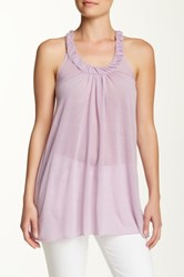 Sweet Pea Ruched Scoop Neck Racerback Tank Purple