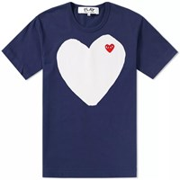 Comme Des Garcons Play Solid Heart Logo Tee Blue