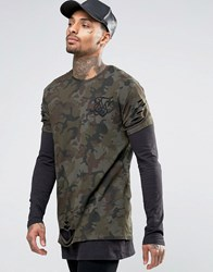 Sik Silk Siksilk Double Layer T Shirt With Distressing Khaki Green
