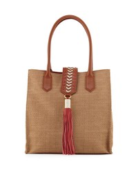 Badgley Mischka Bailey Straw Tote Bag W Leather Trim Neutral