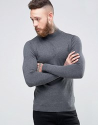 Asos Turtleneck Sweater In Muscle Fit Gray