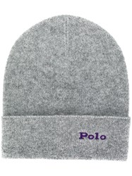 Polo Ralph Lauren Ribbed Cashmere Beanie Grey