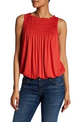 Max Studio Pleat Yoke Bubble Hem Tank Orange