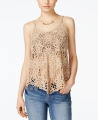 Say What Juniors' Crochet Knit Swing Tank Top Light Taupe