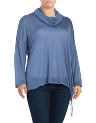 Michael Michael Kors Plus Cowlneck Long Sleeve Top Blue