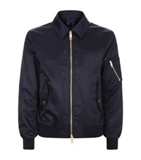 Burberry Satin Bomber Jacket Male Navy