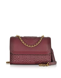 Tory Burch Handbags Fleming Imperial Garnet Leather Small Convertible Shoulder Bag