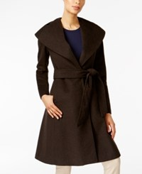 Jones New York Asymmetrical Shawl Collar Coat Brown