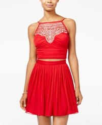 B. Darlin B Juniors' 2 Pc. Embellished Halter Fit And Flare Dress Red