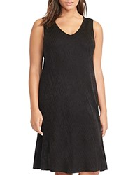 Ralph Lauren Plus Metallic Geometric Knit V Neck Dress Black