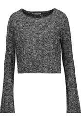 Autumn Cashmere Marled Ribbed Knit Sweater Gray
