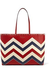 Valentino Garavani The Rockstud Canvas Trimmed Leather Tote Red