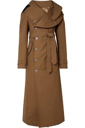 Awake A.W.A.K.E. Belted Cotton Gabardine Trench Coat Brown