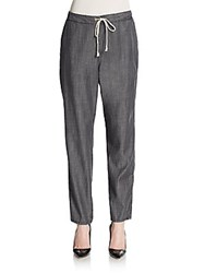 Eileen Fisher Chambray Drawstring Pants Washed Black