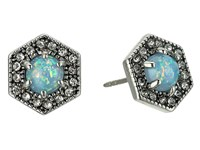 Rebecca Minkoff Opal Hex Stud Earrings Antique Silver Blue Opal Earring
