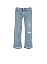 Simon Miller 'Aya' Frayed Cuff Washed Wide Leg Jeans Blue