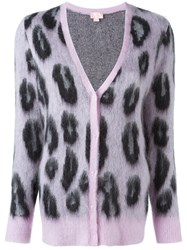 Giamba Leopard Print Cardigan Pink And Purple