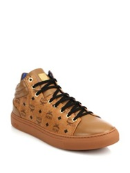 Mcm Coated Canvas And Leather Mid Rise Logo Sneakers Cognac