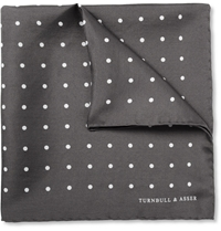 Turnbull And Asser Polka Dot Silk Pocket Square Gray