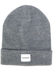 Dondup Logo Patch Knitted Beanie Men Wool Acrylic One Size Grey