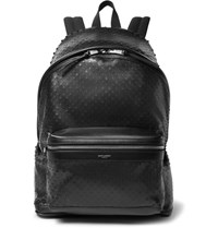 Saint Laurent City Perforated Leather And Canvas Backpack Black