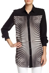 L.A.M.B. Georgette Technto Dot Print Blouse Black
