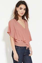 Forever 21 Contemporary Flounce Blouse Rose