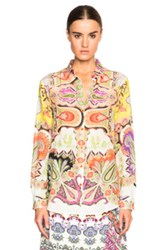 Etro Boyfit Shirt In Yellow Floral Abstract Orange