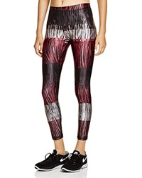 Zara Terez Leather Fringe Print Leggings Red Blk Wht