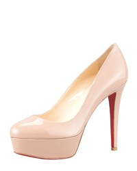 Christian Louboutin Bianca Almond Toe Platform Red Sole Pump Nude Women's Size 9.5B 39.5Eu