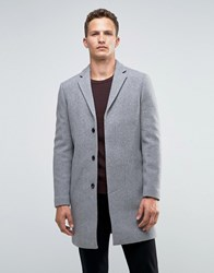 Selected Homme Overcoat In Cashmere Mix In Grey Light Grey Melange