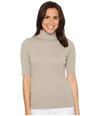Lilla P Elbow Sleeve Turtleneck Twig Women's Clothing Brown