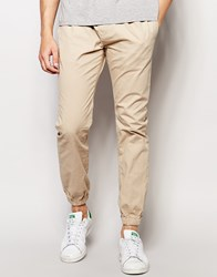 Brave Soul Plain Cuffed Chino Trousers Beige