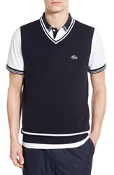 Men's Lacoste 'Golf' Pique Knit Vest Navy Blue White
