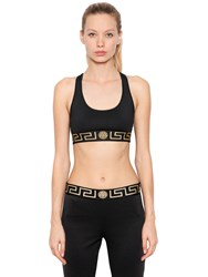 Versace Logo Band Sports Bra Black