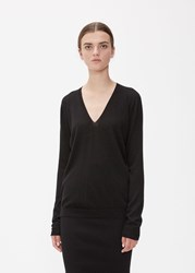 Rick Owens Long Sleeve Soft V Neck Knit Black