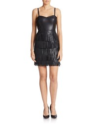 Guess Fringed Faux Leather Sheath Dress Black