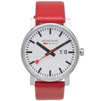Mondaine Evo Big Date 40Mm Watch Red